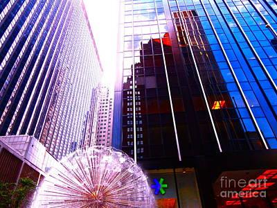 Dandelion Puff City Buildings Original by Chuck Taylor