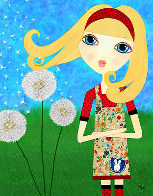 Floating Girl Mixed Media - Dandelion Wishes by Laura Bell