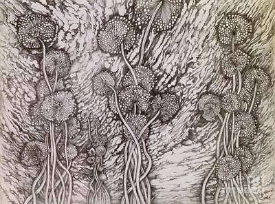 Drawing - Dandelions by Iya Carson