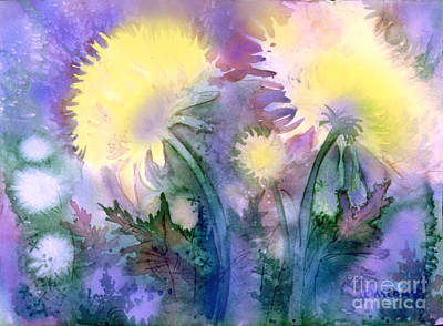 Art Print featuring the painting Dandelions by Teresa Ascone