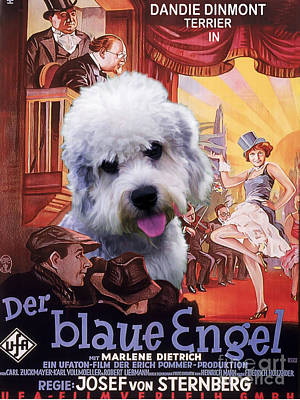 Painting - Dandie Dinmont Terrier Art Canvas Print - Der Blaue Engel Movie Poster by Sandra Sij
