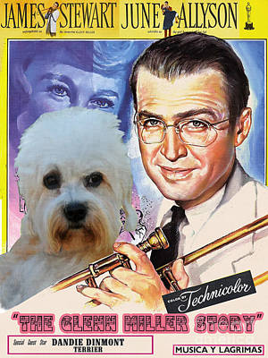 Painting - Dandie Dinmont Terrier Art Canvas Print - The Glenn Miller Story Movie Poster by Sandra Sij