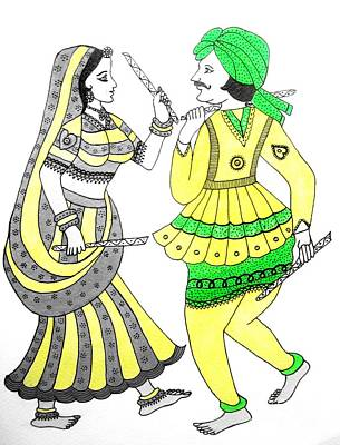 Painting - Dandiya Couple by Priyanka Rastogi