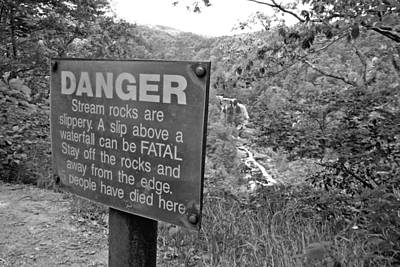 Photograph - Danger At Whitewater Falls Bw by Joseph C Hinson Photography