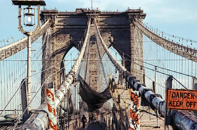 Danger Keep Off - West Tower Brooklyn Bridge Art Print