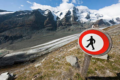 Traffic Sign Photograph - Danger Zone Alps And Mountains by Martin Zwick