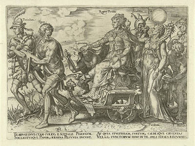 Cornucopia Drawing - Dangers Of Wealth, Philips Galle, Hadrianus Junius by Philips Galle And Hadrianus Junius