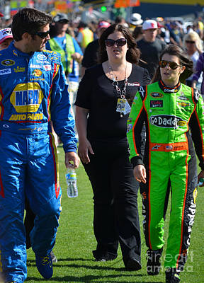 Photograph - Danica Patrick And Martin Truex Jr. by Mark Spearman