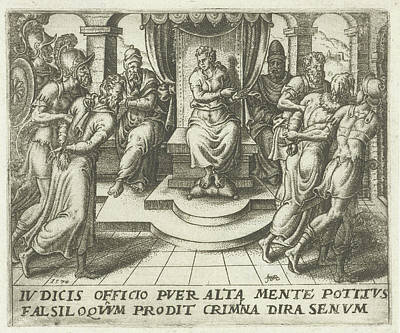 Exposed Drawing - Daniel Condemns The Elders, Abraham De Bruyn by Abraham De Bruyn