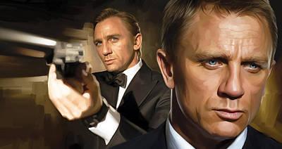 Portraits Mixed Media - Daniel Craig - James Bond Artwork by Sheraz A