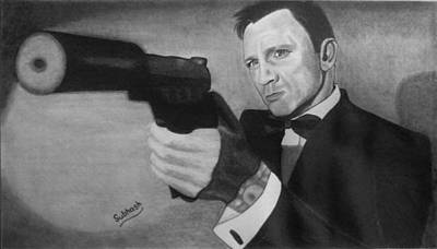 The Girl With The Dragon Tattoo Drawing - Daniel Craig by Subhash Mathew