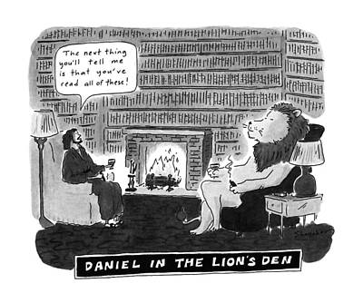 Book Title Drawing - Daniel In The Lion's Den by Danny Shanahan