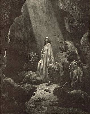 Daniel In The Lions' Den Art Print by Antique Engravings