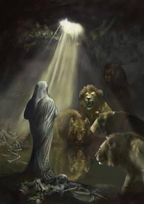 Daniel In The Lions Den Art Print by Matt Kedzierski