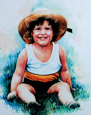 Hand-painted Portraits Painting - Daniel's Straw Hat by Hanne Lore Koehler