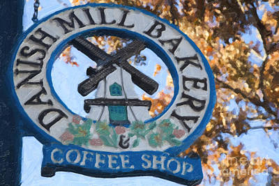Coffee Shop Painting - Danish Mill Bakery In Solvang California by David Millenheft