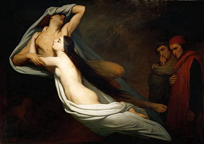 Virgil Painting - Dante And Virgil Encountering The Shades Of Francesca De Rimini And Paolo In The Underworld by Ary Scheffer