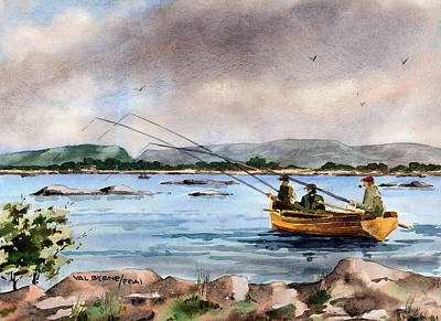 Mayfly Painting - Mayo Dapping On Lough Mask by Val Byrne