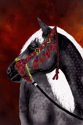 Digital Art - Dapple Grey Arabian by Davandra Cribbie