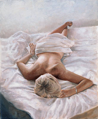 Semi-nude Painting - Dappled And Drowsy by John Worthington