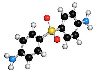 Dermatology Photograph - Dapsone Antibacterial Drug Molecule by Molekuul