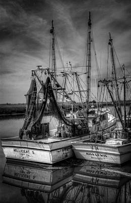 Photograph - Darien Boats In Black And White by Greg and Chrystal Mimbs