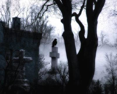 Dark And Eerie Graveyard Art Print by Gothicrow Images