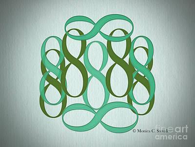 Digital Art - Dark And Light Green 8's by Monica C Stovall