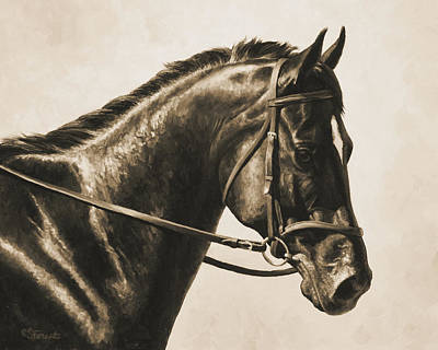 English Riding Painting - Dark Bay Dressage Horse Aged Photo Fx by Crista Forest
