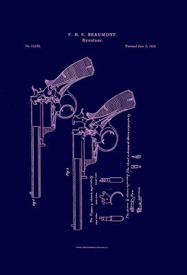 Dark Beaumont Revolver Patent Art Print by Georgia Fowler