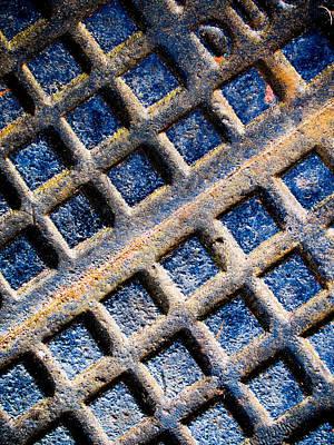 Manhole Photograph - Dark Blue Metal by Hakon Soreide