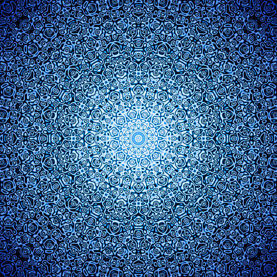 Generative Digital Art - Dark Blue Quasicrystal by Dan Gries