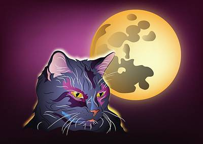Digital Art - Dark Cat And Full Moon by MM Anderson