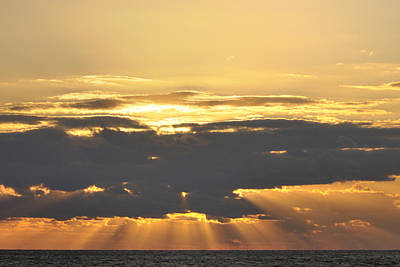 Photograph - Dark Cloud Over Sea With Sunbeams by Bradford Martin