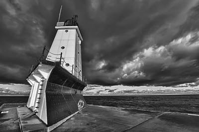Photograph - Dark Clouds Black And White by Sebastian Musial