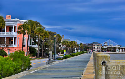 Photograph - Dark Clouds Cover East Bay St. Charleston by Donnie Whitaker