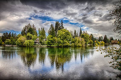 Dark Clouds Over Mirror Pond Art Print by John Williams