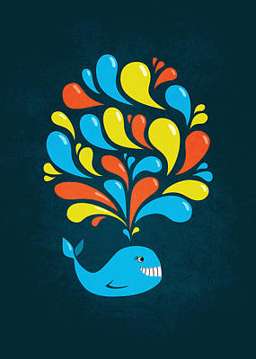 Dark Colorful Splash Happy Cartoon Whale Art Print by Boriana Giormova