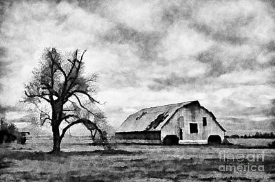 Photograph - Dark Day Barn Black And White Digital Paint by Debbie Portwood