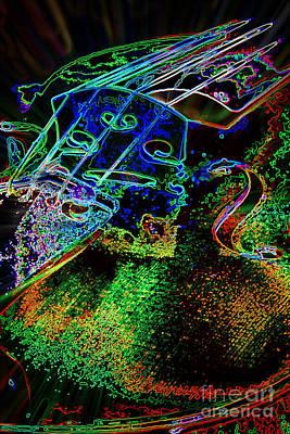 Photograph - Dark Drawing Viola Violin String Bridge Close In Color 3075.03 by M K Miller