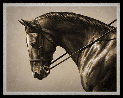 Monochrome Painting - Dark Dressage Horse Old Photo Fx by Crista Forest