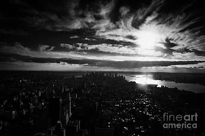 Dark Evening Sunset View Over Lower Manhattan New York City Usa Art Print by Joe Fox