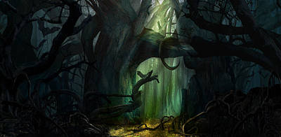 Digital Art - Dark Forest by Virginia Palomeque