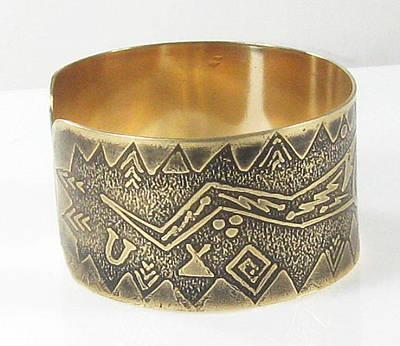 Brass Etched Jewelry - Dark Goddess - Shaman Ritual Cuff Bracelet by Vagabond Folk Art - Virginia Vivier
