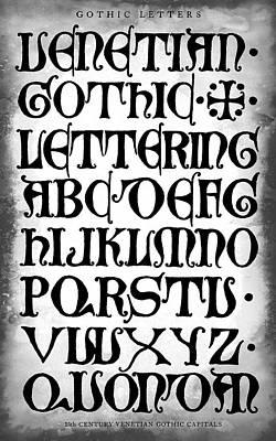 Dark Gothic Calligraphy 15th Century Art Print