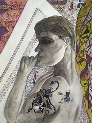 Mixed Media - Dark Hair Man And Tattoo by Marian Hebert