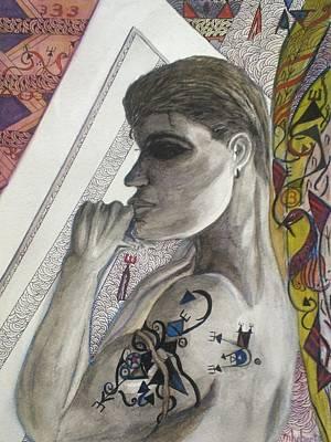 Mixed Media - Dark Hair Man And Tattoo by Marian Hebert