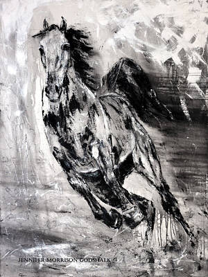 Painting - Dark Horse Contemporary Horse Painting by Jennifer Morrison Godshalk
