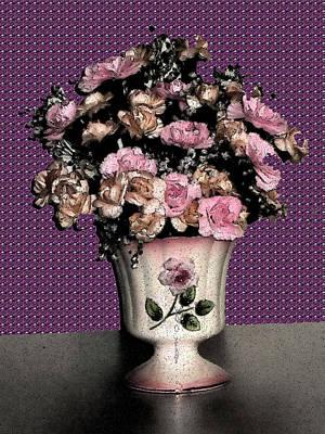 Still Life Digital Art - Dark Ink Vase And Flowers by Good Taste Art