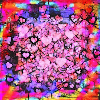 Moody Grunge Hearts Abstract Print by Marianne Campolongo